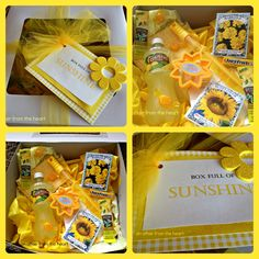 an affair from the heart: Brighten Someone's Day with a Box Full of Sunshine! Cute Birthday Gift, Friend Birthday Gifts, Gifts For Friends, Happy Birthday, Homemade Gift Baskets, Homemade Gifts, Diy Gifts, Box Of Sunshine, Appreciation Gifts