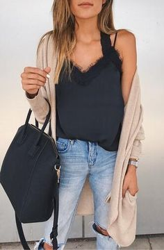 Lace cami paired with jeans
