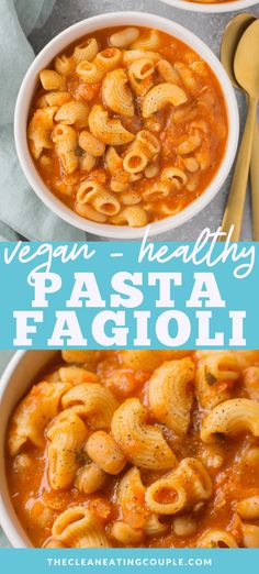 This Healthy Crockpot Pasta Fagioli soup is packed with protein and so cozy. It's the perfect nutritious, veggie packed winter dinner anyone will love! You can make it in the instant pot, crockpot, or on the stovetop. Better than olive garden's and g Easy Clean Eating Recipes, Healthy Pasta Recipes, Healthy Pastas, Healthy Meal Prep, Lunch Recipes, Whole Food Recipes, Vegetarian Recipes, Dinner Recipes, Vegetarian Pasta Fagioli Recipe