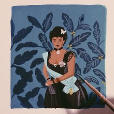 """""""painting Lili'uokalani (the last queen of Hawaii) for our 2015 monarch calendar"""" Anna Rifle Bond Art And Illustration, History Of Illustration, Art Illustrations, Hawaiian Queen, Queen Of Hawaii, Anna Rifle Bond, Anna Bond, Guache, Rifle Paper Co"""