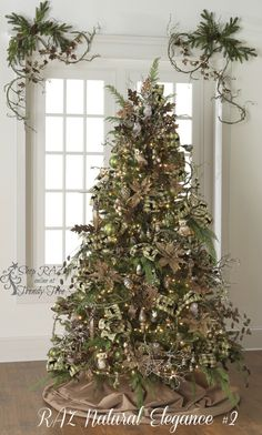 RAZ 2015 Natural Elegance Christmas Tree visit http://www.trendytree.com for RAZ Christmas decorations