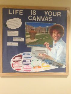 Social Justice MEME RA Bulletin Board Bob Ross University of Illinois at Urbana-Champaign Wassaja Hall [bob ross painting party-floor idea] College Bulletin Boards, Halloween Bulletin Boards, Winter Bulletin Boards, Library Bulletin Boards, Ra Themes, School Themes, Student Council Campaign, Ra Bulletins, Urbana Champaign