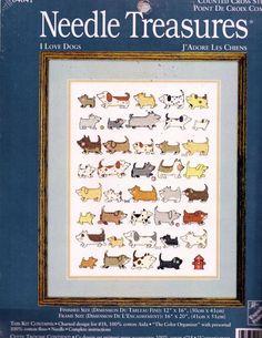 "I Love Dogs Cross Stitch Kit 39 Dogs Needle Treasures 04641 12"" x 16"" New #NeedleTreasures #CrossStitchKit"
