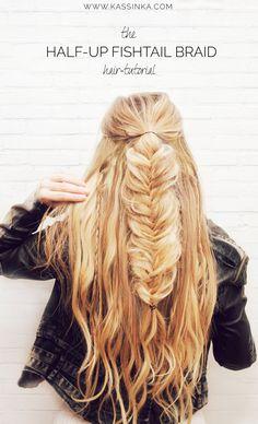 KASSINKA - half-up fishtail braid hair tutorial
