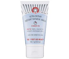 Face Masks For Wintry Skin: Save Face. First Aid Beauty Ultra Repair Instant Oatmeal Mask, $22, uses, you guessed it, oatmeal, a natural skin soother to repair damage to skin that causes dryness and irritation. It's backed up by nourishing ingredients like sea buckthorn and shea butter which coat your skin in a layer of dryness protection while restoring last summer's healthy glow. Stash it in your tote for some rehab after you hit the slopes! #SelfMagazine