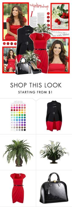 """""""Eva Longoria"""" by lilly-2711 ❤ liked on Polyvore featuring Rachel, McQ by Alexander McQueen, Nearly Natural, Calla, Lipsy, Louis Vuitton and Giuseppe Zanotti"""