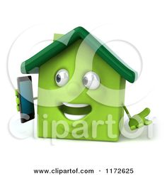 Clipart of a 3d Green House Mascot Talking on a Smart Phone - Royalty Free CGI Illustration by Julos