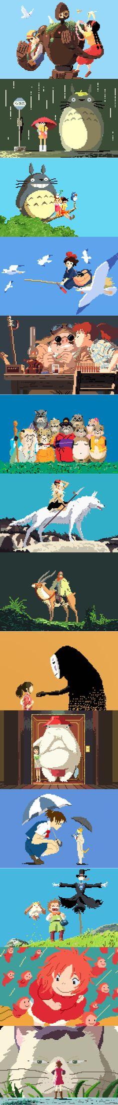Ghibli, tribute to Hayao Miyazaki by Richard J. Hayao Miyazaki, Pixel Art, Film Animation Japonais, Game Design, Pom Poko, Fanart Manga, 8bit Art, Studio Ghibli Movies, Castle In The Sky