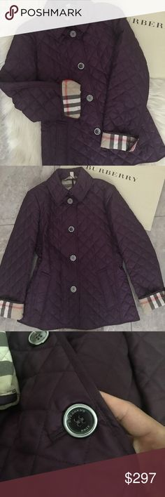 BURBERRY BRIT COPFORD QUILTED JACKET / GRAPE /S BURBERRY BRIT COPFORD QUILTED JACKET / Color : GRAPE / SIZE S / Diamond quilting styles a streamlined jacket fashioned with a chic club collar and logo-engraved buttons at the placket and cuffs. A buttoned back half belt subtly shapes the waist. With COAT COVER and BRAND SHOPPING BAG Front pockets. Back half belt is adjustable. Fully lined in check print. 100% polyester. Dry clean. By Burberry Brit; imported. Burberry Jackets & Coats
