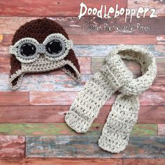 Newborn Aviator Hat, 3 Piece Set, Aviator, Goggles, Scarf, Brown, Ivory Tweed, Gray, Baby, Boy, Girl, Newborn Photo Prop, Ready to Ship by Doodlebopperz on Etsy
