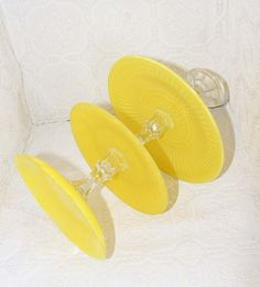 Lemon Yellow Shabby Chic 3 Tier Vintage Reclaimed Cupcake Stand Made to Order. $46.00, via Etsy.