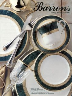 Noritake dinnerware Fitzgerald, Wedgwood stemware Royal Gold, & Gorham flatware Golden Shell.