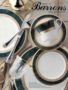 Noritake dinnerware Fitzgerald, Wedgwood stemware Royal Gold, & Gorham flatware Golden Shell.