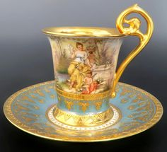Royal Vienna Hand Painted Porcelain Cup and Saucer, Century.