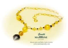 Murano necklace with venetian glass with gold filled beads and Swarovski crystals