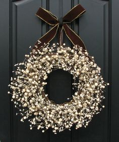 Classy!  I love this... and it would be great done in different colors for the seasons or holidays!    Berry Wreath for Front Door Decor - Sugar Cream Pie Berry Wreath, Brown Velvet Bow, Decoration