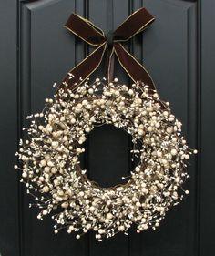 Unique color & design for winter wreath.