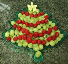 Christmas tree fruit plate