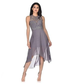 d347a9f3f8 AX Paris Women s Pewter Crochet Detailed Waterfall Dress - Online  Exclusive