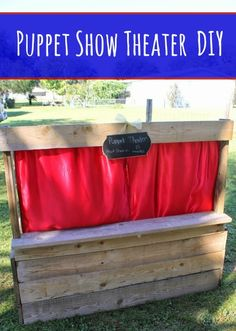 DIY Wood Pallet Puppet Theater Tutorial - Use this tutorial to create a frugal puppet theater for kids with a wood pallet, fabric, paint, and a few tools.