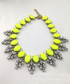 Rhinestone Resin Neon Yellow Crystal Wreath Necklace @ Shop Lately $27