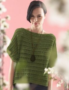 Drop Stitch Jade Top Knitting Needle Size: 3 & 5 Circular Knitting Needles  Light/DK (21-24 stitches to 4 inches) XS to 4/5 L