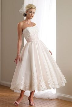 Love this Destinations by Mon Cheri Ballerina Length Wedding Dress 112108T! It's too cute in a short tea style that is appropriate for any summer wedding. Find this and other great wedding styles at frenchnovelty.com