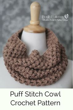 Crochet Pattern - A cozy crochet cowl pattern that features a unique stitch design. Includes toddler, child, and adult sizes. Wonderful for gift giving. By Posh Patterns.