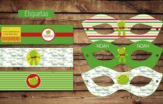 #Sapo #Pepe #Cumple #etiquetas para botellas #antifaces #kitimprimible #pepe #sapito #verde #rojo