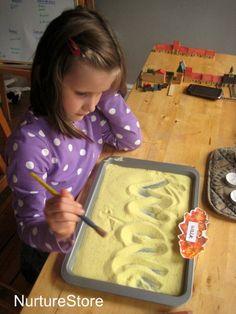 "Multi-sensory way to work on spellings - Ginger  Cinnamon Salt Tray from NutureStore ("",)"