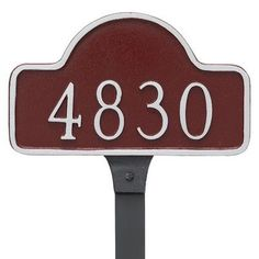 Montague Metal Products Lexington Petite Arch Address Sign Plaque with Lawn Stake Finish: Black/Silver