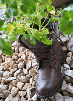 I have some of my dad's old shoes like this with plants in them out in the garden....