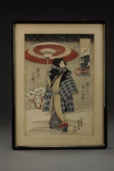 FRAMED JAPANESE UKIYO-E PRINT : Lot 163