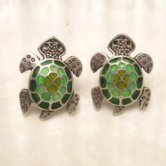 Sterling Turtle Earrings Guilloche Enamel by PurpleDaisyJewelry, $26.00
