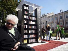 An outdoor library in Linz, Austria. [Photo via]