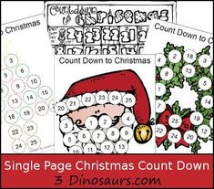 FREE Single Page Count Down to Christmas Printables: Christmas Tree, Santa, Wreath & Coloring page from 3 Dinosaurs Kindergarten Christmas Crafts, Christmas Worksheets, Christmas Math, Christmas Activities For Kids, Christmas Countdown, Christmas Printables, Christmas Themes, Holiday Crafts, Christmas Holidays