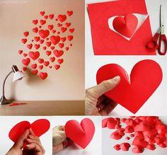 Corações com papelão