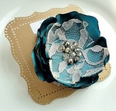 Teal Flower Brooch with Lace Broach Pin, Winter Blue Bridal Wedding Bridesmaids Gift, Iridescent, Gray. $11.50, via Etsy.