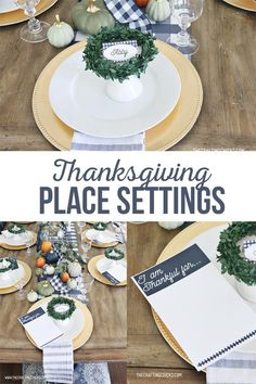 Thanksgiving Place Settings | Thanksgiving Place Settings for a family and friends to gather around. Special touches with thanksgiving place cards, and thankful prints. Thanksgiving Place Cards, Thanksgiving Parties, Thanksgiving Crafts, Thanksgiving Decorations, Diy And Crafts Sewing, Diy Crafts For Kids, Craft Party, Diy Party, Place Settings