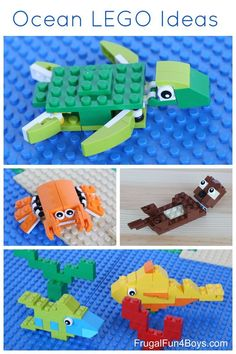 sealife aquarium Ocean LEGO Projects to Build - Sea Turtle, Crab, Otter, Fish Lego Duplo, Legos, Deco Lego, Activities For Kids, Crafts For Kids, Stem Activities, Lego Challenge, Lego Club, Lego Craft