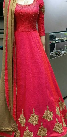 Golden and watermelon pink long maxi Anarkali Dress, Red Lehenga, Pakistani Dresses, Indian Dresses, Indian Outfits, Lehenga Choli, Long Anarkali, Anarkali Suits, Punjabi Suits