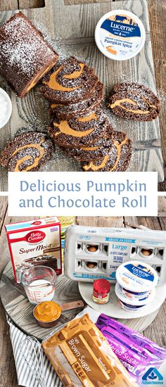 Dazzle friends this fall season! Celebrate with this easy-to-make Pumpkin and Chocolate Roll recipe. Just Desserts, Delicious Desserts, Dessert Recipes, Yummy Food, Tasty, Fall Baking, Holiday Baking, Croissants, Thanksgiving Recipes
