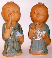 Vintage 10 Japanese Boy and Girl Festival Dolls Pottery Sculpture Figurines