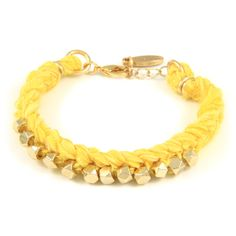Braided Yellow Vintage Ribbon Bracelet with Intertwined Gold Faceted Beads