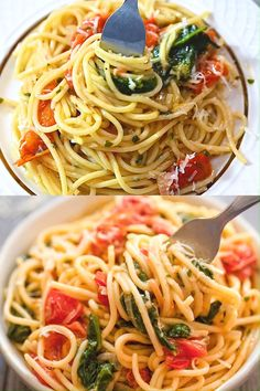 If you are looking for a quick, tasty, and filling meal, this One-Pot Pasta with Spinach is just what you need! Minimum cleanup and p… in 2020 One Pot Vegetarian, Vegetarian Recipes, Cooking Recipes, Healthy Recipes, Low Fat Pasta Recipes, Vegetarian Pasta Dishes, Healthy Filling Meals, Healthy Pastas, One Pot Dinners