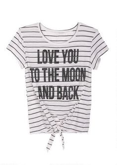 Love You to the Moon and Back Tie Front Tee - View All Graphic Tees - Graphic Tees - Clothing - dELiA*s