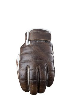"""Five Advanced Gloves. California Model - Leatherwork inspired by the Japanese """"bubble"""" look. Metal FIVE logo. {Front}"""
