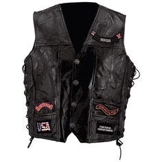 Rock Design Genuine Buffalo Leather Vest Sizes 6X and 7X Features antiqued buffalo nickel snaps, leather laces, 4 outer pockets, A total of 14 patches on the front and back. The Live To Ride™ brand cloth patches are included and already sewn in place. Actual designs may vary slightly from photograph.