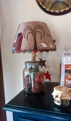 Country Lamps, Country Decor, Tea Cup Lamp, Fillable Lamp, Primitive Lamps, Country Primitive, Decor Crafts, Diy And Crafts, Quilting Room