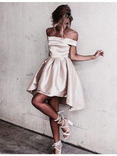 Simple Homecoming Dresses Off the Shoulder Mini Short Graduation Dress Prom Dress Vestidos #partydresses